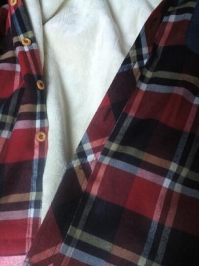 衫博 中长款格子衬衫女长袖2019秋冬宽松BF风简约休闲衬衣外套上衣 藏蓝格 XL 晒单图