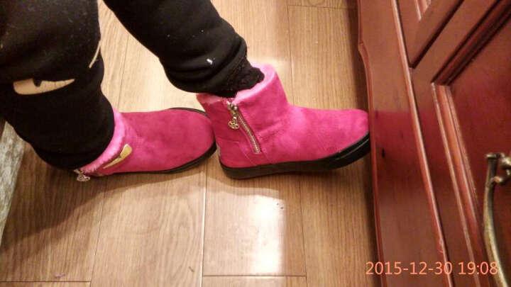 回力儿童棉鞋女童雪地靴子中高筒冬款男童鞋舒适保暖加厚鞋子 3532玫红色 30/内长约19.5cm 晒单图