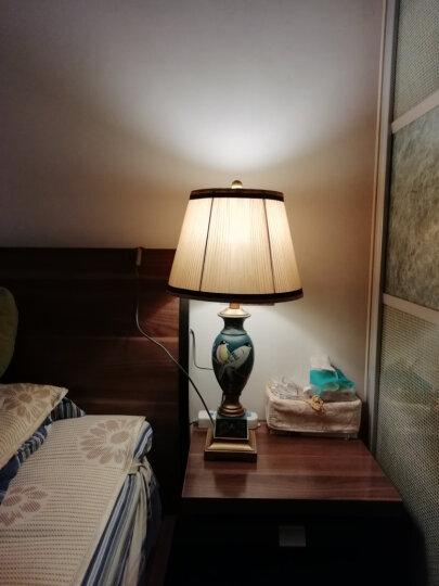 圣玛帝诺 美式台灯 卧室 床头 可调光可按钮简约现代欧式卧室客厅树脂布艺装饰led床头台灯 AV-1129大号蓝色按钮 晒单图