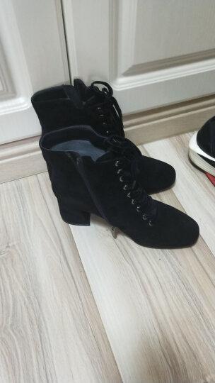 设计师女鞋 MIO米奥女鞋 秋季羊绒粗高跟女短靴单靴M175603605 白色 35 晒单图