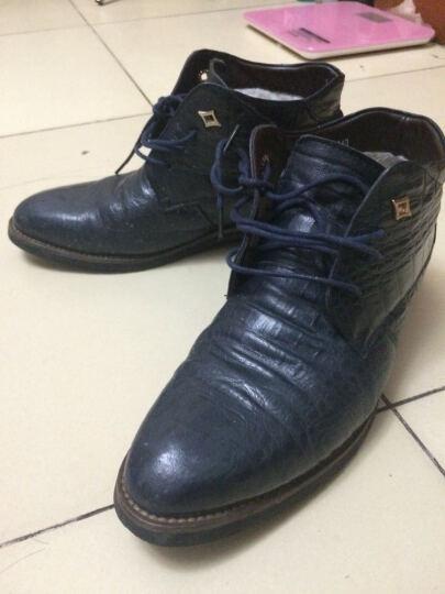 百臣汇男靴商务正装男士皮鞋英伦系带高帮加绒棉鞋子 睿智黑 单里款 41 晒单图