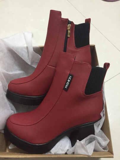 欧靓妮秋冬新款短靴女时尚马丁靴女单靴粗跟女靴厚底机车靴女靴子816 红色 单里 34 晒单图