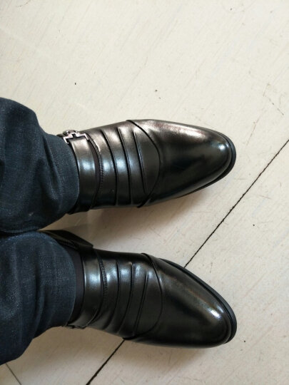 鲁宾尼2018新款皮鞋男商务休闲男士皮鞋一脚蹬懒人高跟加棉皮鞋真皮鞋子男rDgfBMtygo 黑色单鞋 42 晒单图