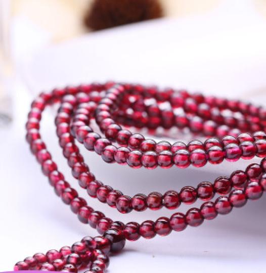 石玥珠宝 4-4.5mm石榴石手链 女 酒红色宝石手串 4圈多层水晶手链 晒单图