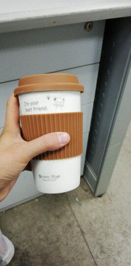 瓷魂 创意陶瓷情侣咖啡马克杯带盖随手水杯子 绿色兔子 晒单图
