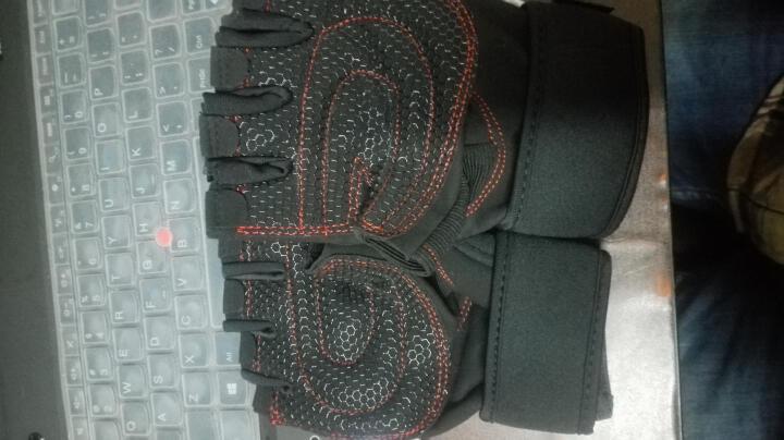 恒冠(HENGGUAN) 恒冠专业运动健身手套男女士耐磨防滑器械半指运动护具加长护腕 黑色 透气耐磨款 加大XL(手掌围23-25cm) 晒单图