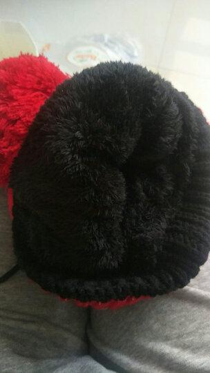 杰英仕帽子女冬天韩版保暖护耳棉口罩毛线帽骑车加绒包头围脖冬季针织帽 藏青色 晒单图