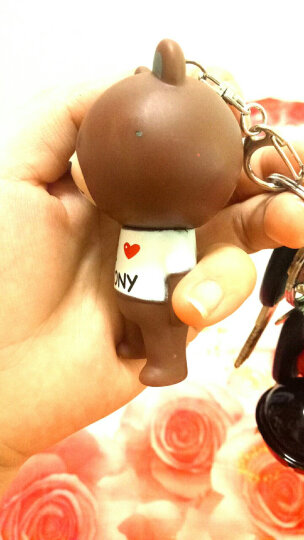 汽车情侣钥匙扣女卡通创意铃铛皮绳挂件布朗熊蒙奇奇哆啦A梦可妮兔韩国创意可爱圈腰挂包包挂件 限量款布朗熊-黑红铃-棕绳 晒单图