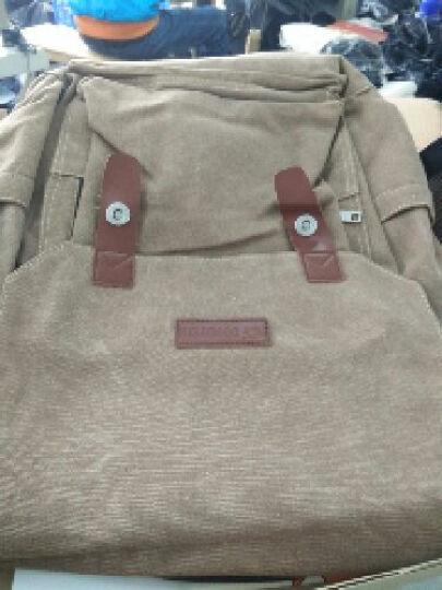 豆鼓眼 帆布双肩包男女休闲韩版14英寸电脑包旅行包情侣包G00120 深棕色 晒单图