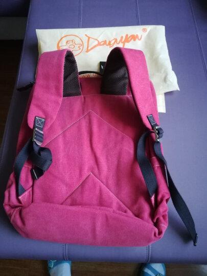 豆鼓眼 帆布双肩包男女休闲韩版14英寸电脑包旅行包情侣包G00120 复古红 晒单图