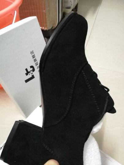 LT 深口单鞋女真皮粗跟中跟圆头系带女鞋高跟鞋韩版英伦磨砂皮鞋子女士休闲鞋2018秋季新款 裸色(跟高5.5CM) 38 晒单图