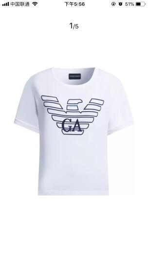 EMPORIO ARMANI UNDERWEAR阿玛尼奢侈品女士短袖针织T恤衫164008-8P291 WHITE-00010 L 晒单图