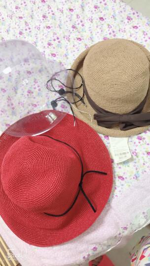 帽子女夏天韩版潮蝴蝶结出游遮阳帽太阳帽可折叠草帽沙滩帽凉帽 米色 57CM(可调节,DIY防风绳) 晒单图
