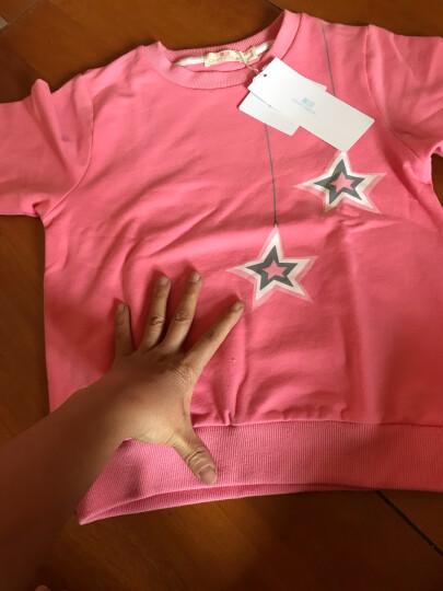 馨颂女童卫衣春秋中大儿童长袖运动套头上衣 玫红 130 晒单图