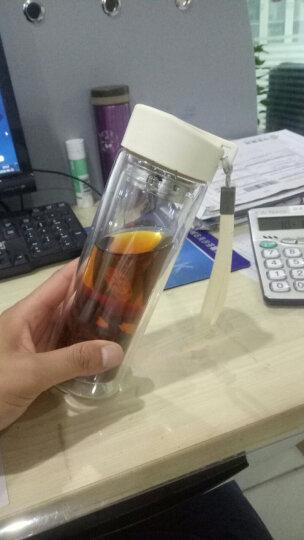 富光 耐热防烫便携提手杯子 男女士时尚玻璃茶杯泡茶杯 透明双层玻璃水杯 草绿色 280ML(G1311-280) 晒单图