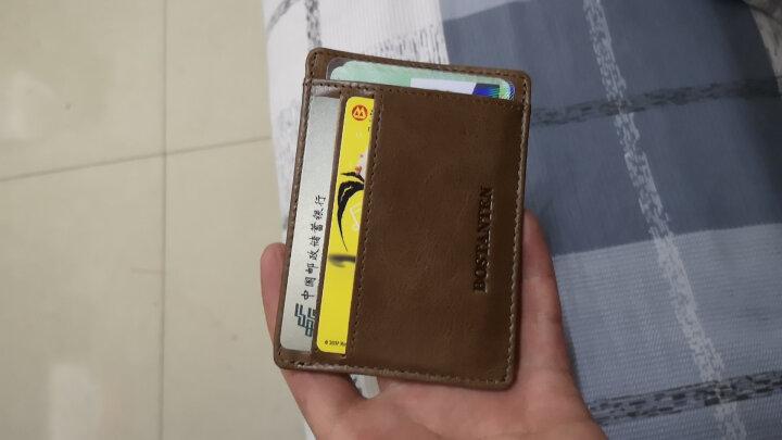 波斯丹顿(BOSTANTEN)卡包名片夹 头层牛皮轻薄复古驾驶证皮套银行卡套迷你钱夹小钱包男女 B7162021杏黄色 晒单图