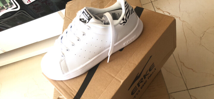 鸿星尔克erke女鞋 板鞋新款休闲运动鞋滑板鞋情侣小白鞋52116401106正白36码 晒单图