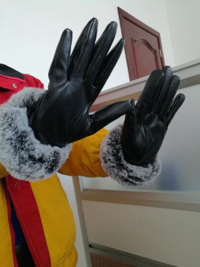 名芳 女士皮手套冬季触屏加绒加厚保暖骑车骑行摩托车手套女冬防风防寒薄款韩版学生可爱兔毛口 女士菱格紫色 晒单图