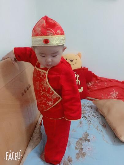 儿童唐装帽宝宝地主帽婴儿百岁帽男女童古装帽 红金福冬帽 52cm(大概适合18-24个月) 晒单图