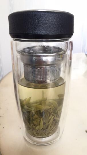 【支持货到付款】卡西菲创意双层玻璃杯水杯带茶隔过滤便携茶杯耐热男女士办公车载商务旅行杯 商务黑色350ml 晒单图