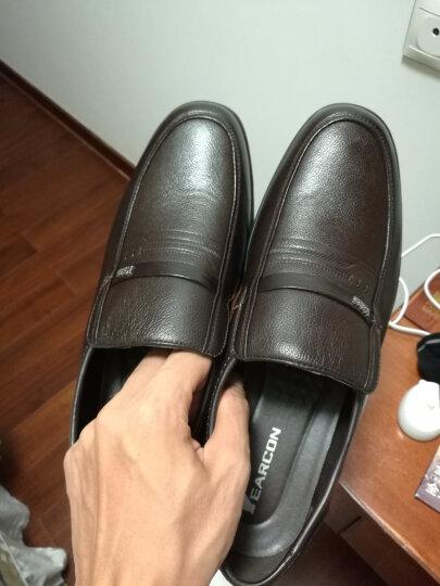 意尔康皮鞋日常休闲男鞋牛皮套脚舒适柔软单鞋6441AA97005W棕色43 晒单图