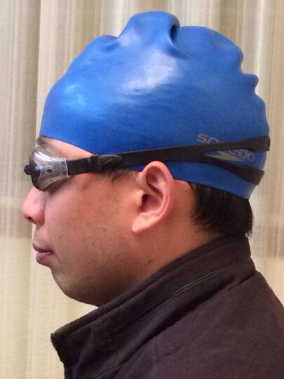 速比涛(speedo) 男女长发防水游泳帽 健身训练 护耳硅胶泳帽 黑色 晒单图