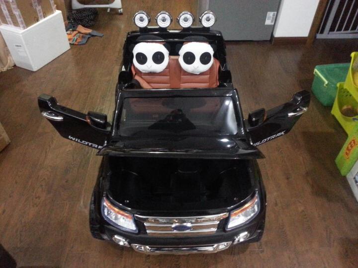 大可(dake) 儿童电动车四轮可坐 摇摆车 福特猛禽F150遥控汽车越野童车宝宝双座位玩具车可坐 标配抛光橙色+越野轮+12V7ah电瓶 晒单图