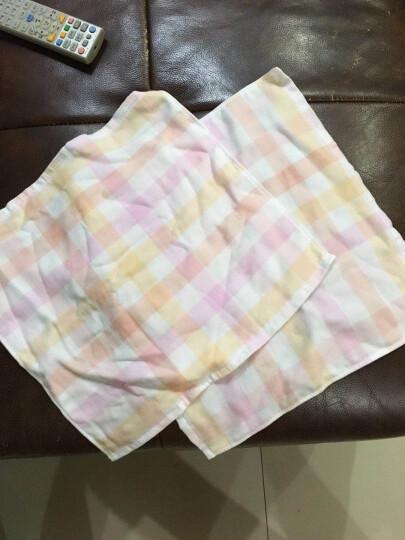 梦特娇(Montagut)毛巾家纺 单面纱布方格方巾 精致优雅 高档纯棉  P粉色 34*35cm 晒单图