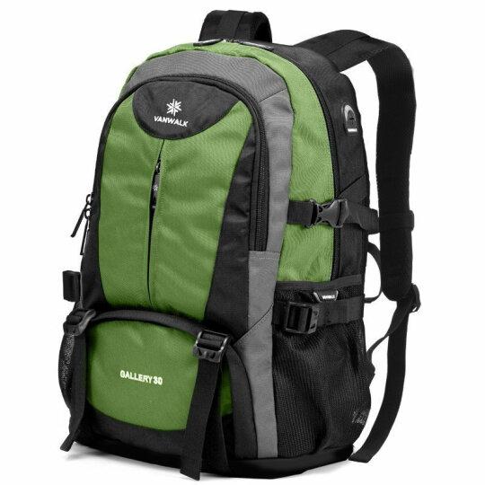 vanwalk 背包双肩包书包男旅行包商务双肩电脑包15.6英寸中学生多功能笔记本包 灰色(扩容版) 晒单图