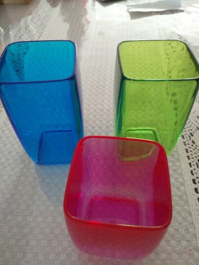 欧润哲 漱口杯 塑料刷牙杯洗漱杯高透方杯水杯子 家庭三件套装 晒单图