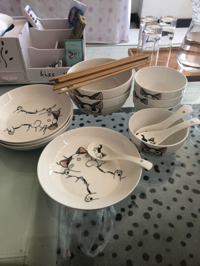 诗邦 日式碗碟套装景德镇陶瓷器家用20头高档骨瓷餐具套装盘子碗具送礼品饭碗筷 粉红玫瑰 晒单图