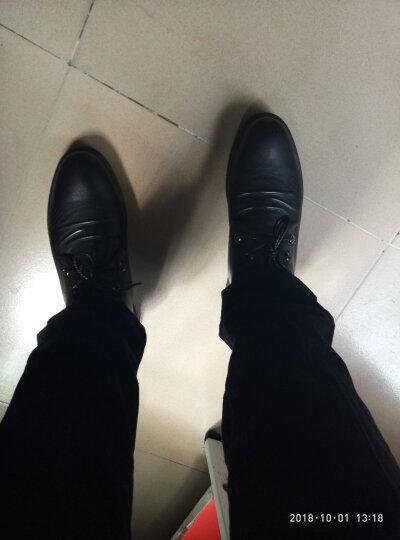 卡帝乐鳄鱼皮鞋男士商务休闲鞋英伦时尚系带真皮休闲皮鞋男鞋子10097 黑色 42 晒单图