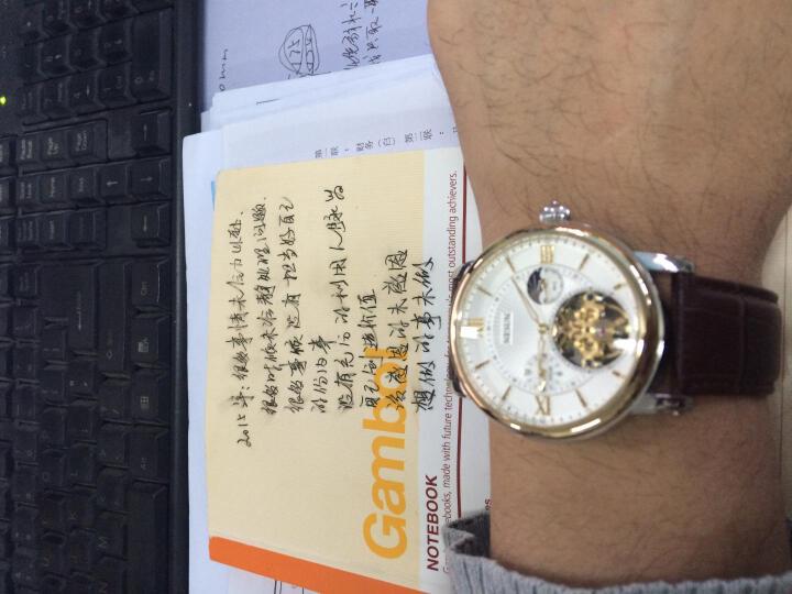 尼尚(Nesun)手表男士表 全自动机械手表 镂空男表 男士手表 夜光防水男士表 钢带白面金钉MS9091-JBJ 晒单图