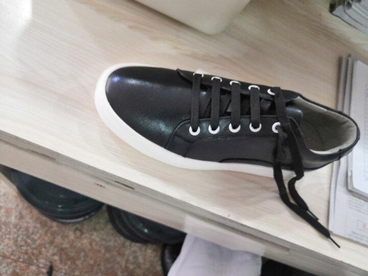 康龙男士板鞋休闲鞋 头层牛皮鞋韩版潮流系带流行男鞋子 全白色253113538 41 晒单图