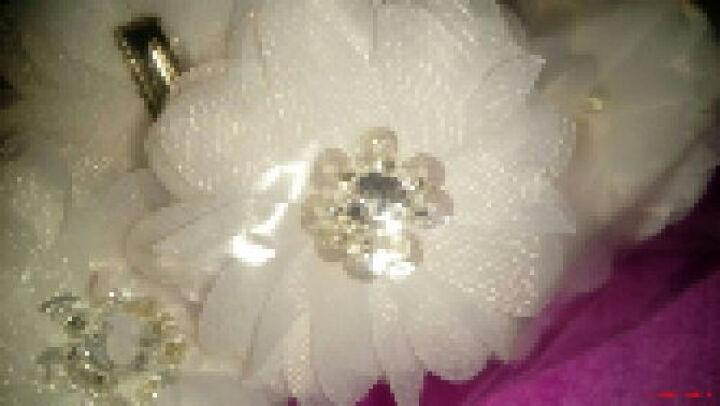 MSlover 香浮茉莉笑花头 手工绢纱花朵结婚新娘婚纱头饰头花发夹发 HA130701 发夹(6只装) 米白 晒单图