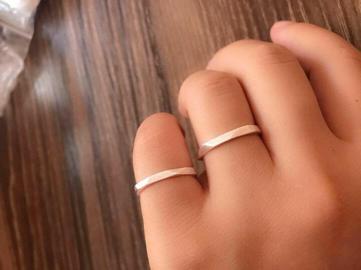 韩版欧美流行S925纯银开口情侣戒指时尚个性男戒指 棱爱戒指个性潮饰品 情侣款(一对) 晒单图