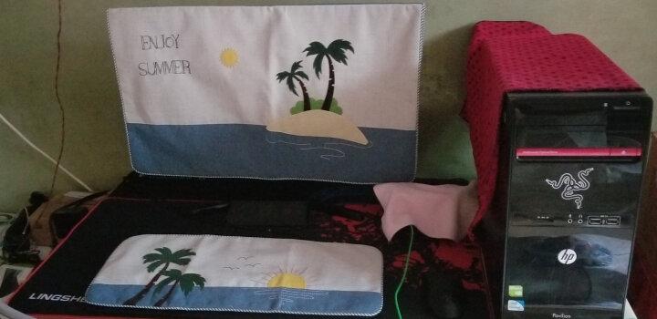 欣伊 布艺笔记本套 电脑罩 电脑套 可爱防尘罩 笔电一体机保护罩 椰子树 适合23-24寸单片显示器罩 晒单图