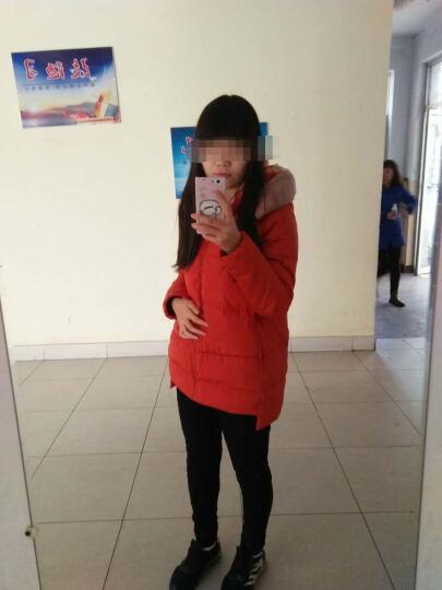 高梵 2015秋冬新款时尚轻薄羽绒服女中长款显瘦连帽女装外套 橘红 160/M 晒单图