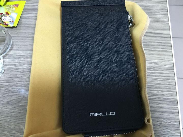 慕朗(MIRLLO)长款真皮男士钱包 男 卡包 女式多卡位卡套情侣卡片包 十字纹蓝色 晒单图