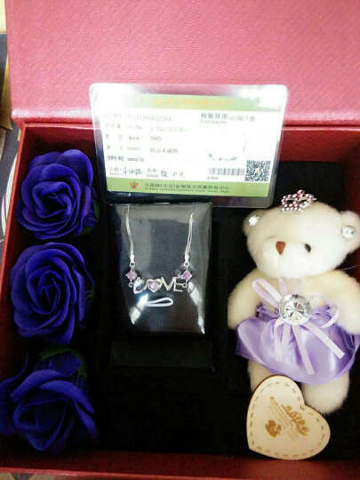 纤格银 情人节新年礼物送女友S925银手链女 生日礼品女生 结婚纪念日礼物送女朋友妈妈银手链创意 天使的诱惑(精美包装)紫色 晒单图