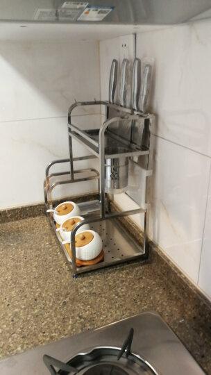 雅怡洁 不锈钢三层厨房置物架落地壁挂收纳架调料架刀架厨房用品筷子筒 两层30CM带筷筒(带砧板架)+4钩 晒单图