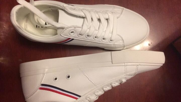 勿上热风2019年夏新款学院风青年男士系带休闲鞋圆头小白鞋 04白色 42正码 晒单图