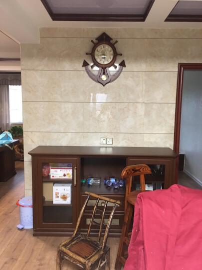 枫叶(MapleLeaf)现代欧式双面挂钟静音实木欧式艺术客厅两面石英钟表创意复古板栗色292-1 晒单图