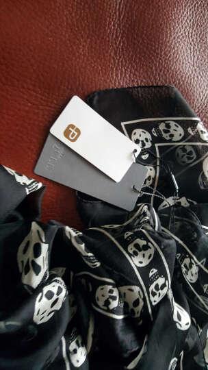 McQueen/麦昆 女士新款骷髅印花围巾丝巾110640 米色/蓝色 晒单图