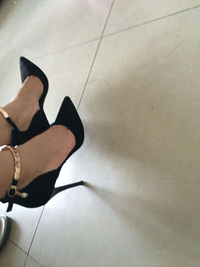 莱卡金顿高跟鞋女2017秋季新款时尚细跟性感高跟女靴气质通勤OL尖头女鞋 H85J68Q黑色 35 晒单图