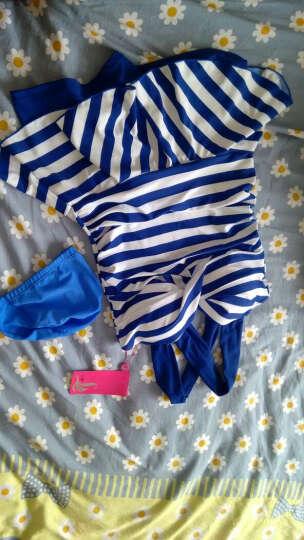 三奇 游泳衣女连体裙式性感钢托泳衣小胸聚拢大码温泉泳装 黄色 M 晒单图