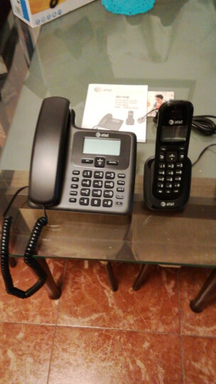 AT&T EL34109BCN数字无绳电话机座机子母机中文显示免提家用办公一拖一固定无线座机有绳 黑色 晒单图