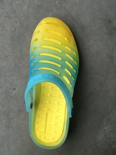 LUOKEN骆肯 洞洞鞋男沙滩鞋凉鞋包头套脚男鞋彩虹渐变233-5 黄色(男) 41 晒单图