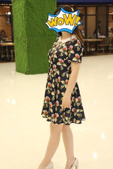 秋水伊人2017春装新品女装 钉珠娃娃领复古印花短袖修身连衣裙 深黄 160/84A/M 晒单图