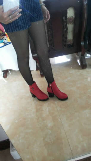 欧靓妮秋冬新款短靴女时尚马丁靴女单靴粗跟女靴厚底机车靴女靴子816 红色 加绒 37 晒单图